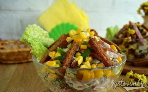 "Салат иришка с сухариками кукурузой и ветчиной рецепт. Салат ""Иришка"" с сухариками"