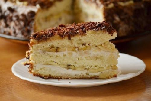 Бисквитный торт с творожно-банановым кремом. Торт Банановое наслаждение — вкусный бисквитный торт с бананами и творожной начинкой