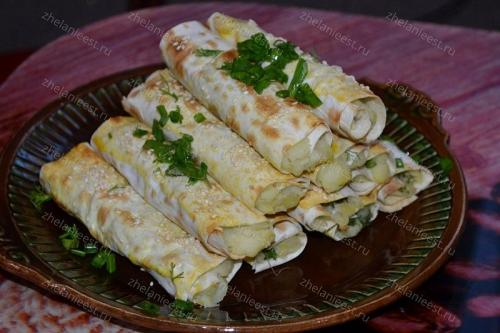 Трубочки из лаваша с картошкой: рецепт с фото пошаговый в домашних условиях