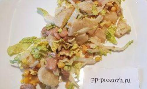 ПП салат с курицей и ананасом
