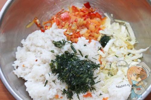 Ленивые голубцы из пекинской капусты с рисово-овощным фаршем без мяса