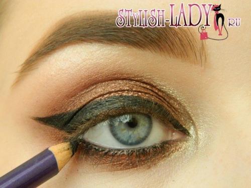 Бронзовый цвет теней. Стильный макияж глаз с бронзовыми тенями