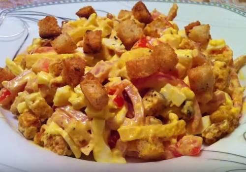 Салаты рецепты с ветчиной. «Наслаждение» — вкусный салат с ветчиной и сухариками