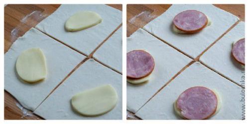 Булочки из слоеного теста с сыром и ветчиной.