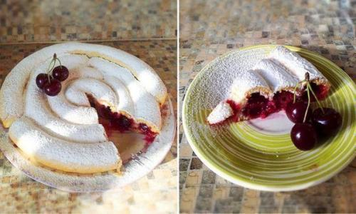 Пирог с вишней на кефире улиткой. Пирог улитка с вишней.