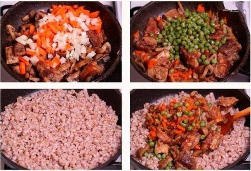 Перловка с грибами и мясом. Перловая каша с мясом, грибами и овощами.