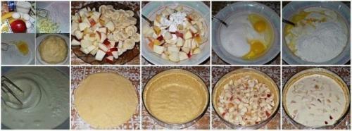 Рецепт бананового пирога. Яблочно - банановый пирог из песочного теста со сметанной заливкой.