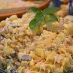 Салат с копченой курицей.