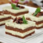 Шоколадный торт с мятно - сливочным кремом.