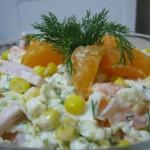 """Салат """"Новогодний"""".   Салат с мандаринами превосходно подходит к новогоднему столу."""