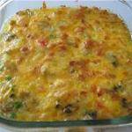 Рисовая запеканка с куриной грудкой, грибами и овощам.