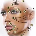 Омолаживающий массаж.  Чтобы разгладить морщины в области глаз мы нажимаем на точки (смотри схему:
