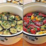 Закуска из маринованных баклажанов и перцев - гриль.
